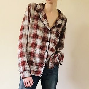 Wildfox Intimates Red Flannel Logo Sun Bleached